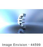 #44599 Royalty-Free (Rf) Illustration Of A 3d Euro Symbol On A Metallic Background - Version 1