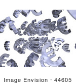#44605 Royalty-Free (Rf) Illustration Of 3d Euro Symbols Raining Down - Version 2