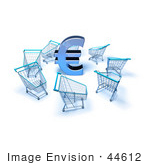 #44612 Royalty-Free (Rf) Illustration Of A 3d Euro Symbol Surrounded By Shopping Carts - Version 4