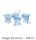 #44613 Royalty-Free (Rf) Illustration Of A 3d Euro Symbol Surrounded By Shopping Carts - Version 2