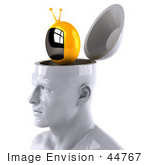 #44767 Royalty-Free (Rf) Illustration Of A Creative 3d White Man Character With A Tv - Version 2