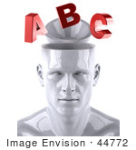 #44772 Royalty-Free (Rf) Illustration Of A Creative 3d White Man Character With Red Letters - Version 1