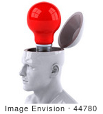 #44780 Royalty-Free (Rf) Illustration Of A Creative 3d White Man Character With A Red Light Bulb