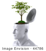 #44786 Royalty-Free (Rf) Illustration Of A Creative 3d White Man Character With A Plant - Version 2