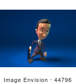 #44796 Royalty-Free (Rf) Illustration Of A 3d White Businessman Mascot Pouting - Version 2