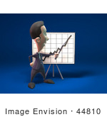 #44810 Royalty-Free (Rf) Illustration Of A 3d White Businessman Mascot Discussing Statistics - Version 3