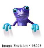 #46298 Royalty-Free (Rf) Illustration Of A Cute 3d Purple Tree Frog Mascot Standing Behind Blank Sign