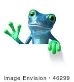 #46299 Royalty-Free (Rf) Illustration Of A Cute 3d Blue Tree Frog Mascot Waving And Holding A Sign
