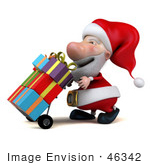 #46342 Royalty-Free (Rf) Illustration Of A 3d Big Nose Santa Mascot Pushing Gifts On A Dolly - Version 1