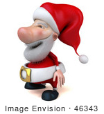 #46343 Royalty-Free (Rf) Illustration Of A 3d Big Nose Santa Mascot Facing Left