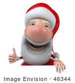 #46344 Royalty-Free (Rf) Illustration Of A 3d Big Nose Santa Mascot Giving The Thumbs Up And Standing Behind A Blank Sign