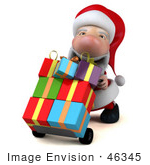 #46345 Royalty-Free (Rf) Illustration Of A 3d Big Nose Santa Mascot Pushing Gifts On A Dolly - Version 2