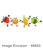 #46603 Royalty-Free (Rf) Illustration Of A Line Of Orange Banana Green Apple And Strawberry Mascots Jumping