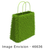 #46636 Royalty-Free (Rf) Illustration Of A 3d Green Eco Friendly Grass Shopping Bag