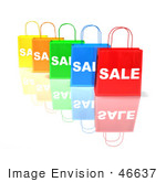 #46637 Royalty-Free (Rf) Illustration Of A 3d Row Of Colorful Sale Shopping Bags - Version 1
