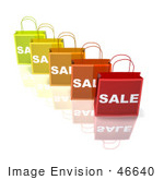 #46640 Royalty-Free (Rf) Illustration Of A 3d Row Of Colorful Sale Shopping Bags - Version 2