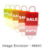 #46641 Royalty-Free (Rf) Illustration Of A 3d Row Of Colorful Sale Shopping Bags - Version 4