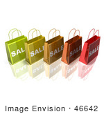 #46642 Royalty-Free (Rf) Illustration Of A 3d Row Of Colorful Sale Shopping Bags - Version 1