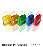 #46643 Royalty-Free (Rf) Illustration Of A 3d Row Of Colorful Sale Shopping Bags - Version 3