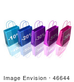 #46644 Royalty-Free (Rf) Illustration Of A 3d Row Of Blue And Purple Discount Shopping Bags - Version 1