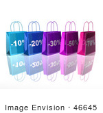 #46645 Royalty-Free (Rf) Illustration Of A 3d Row Of Blue And Purple Discount Shopping Bags - Version 4