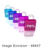#46647 Royalty-Free (Rf) Illustration Of A 3d Row Of Blue And Purple Discount Shopping Bags - Version 2