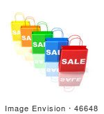 #46648 Royalty-Free (Rf) Illustration Of A 3d Row Of Colorful Sale Shopping Bags - Version 2
