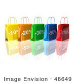 #46649 Royalty-Free (Rf) Illustration Of A 3d Row Of Colorful Discount Shopping Bags - Version 1
