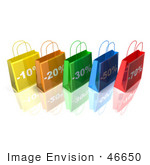 #46650 Royalty-Free (Rf) Illustration Of A 3d Row Of Colorful Discount Shopping Bags - Version 2