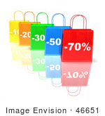 #46651 Royalty-Free (Rf) Illustration Of A 3d Row Of Colorful Discount Shopping Bags - Version 3