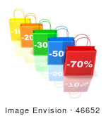 #46652 Royalty-Free (Rf) Illustration Of A 3d Row Of Colorful Discount Shopping Bags - Version 4