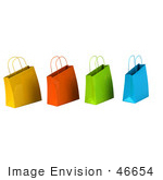 #46654 Royalty-Free (Rf) Illustration Of A 3d Group Of Colorful Leaning Shopping Bags
