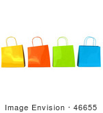 #46655 Royalty-Free (Rf) Illustration Of A 3d Group Of Colorful Shiny Shopping Bags