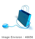 #46656 Royalty-Free (Rf) Illustration Of A 3d Blue Shopping Bag With A Computer Mouse - Version 4