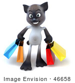 #46658 Royalty-Free (Rf) Illustration Of A 3d Siamese Pussy Cat Mascot Carrying Shopping Bags - Version 1