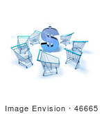 #46665 Royalty-Free (Rf) Illustration Of A 3d Dollar Symbol Surrounded By Shopping Carts - Version 4