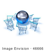 #46666 Royalty-Free (Rf) Illustration Of A 3d Globe Surrounded By Shopping Carts - Version 4