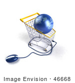 #46668 Royalty-Free (Rf) Illustration Of A 3d Blue Globe Resting In A Shopping Cart With A Computer Mouse - Version 4