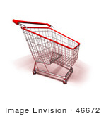 #46672 Royalty-Free (Rf) Illustration Of A 3d Empty Red Rimmed Shopping Cart - Version 4