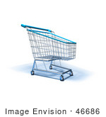 #46686 Royalty-Free (Rf) Illustration Of A 3d Empty Blue Rimmed Shopping Cart - Version 4