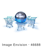 #46688 Royalty-Free (Rf) Illustration Of A 3d Globe Surrounded By Shopping Carts - Version 2