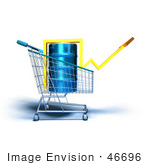 #46696 Royalty-Free (Rf) Illustration Of A 3d Arrow Over An Oil Barrel In A Shopping Cart - Version 4