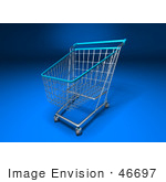 #46697 Royalty-Free (Rf) Illustration Of A 3d Empty Blue Rimmed Shopping Cart - Version 1