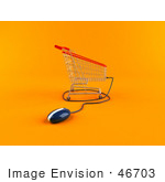 #46703 Royalty-Free (Rf) Illustration Of A 3d Shopping Cart With A Computer Mouse - Version 3