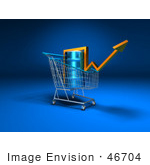#46704 Royalty-Free (Rf) Illustration Of A 3d Arrow Over An Oil Barrel In A Shopping Cart - Version 1