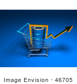 #46705 Royalty-Free (Rf) Illustration Of A 3d Arrow Over An Oil Barrel In A Shopping Cart - Version 5