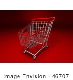#46707 Royalty-Free (Rf) Illustration Of A 3d Empty Red Rimmed Shopping Cart - Version 1