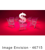 #46715 Royalty-Free (Rf) Illustration Of A 3d Dollar Symbol Surrounded By Shopping Carts - Version 5