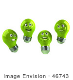 #46743 Royalty-Free (Rf) Illustration Of A Group Of Happy Green 3d Electric Light Bulb Head Mascots