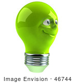 #46744 Royalty-Free (Rf) Illustration Of A Green 3d Electric Light Bulb Head Mascot Smiling - Version 6